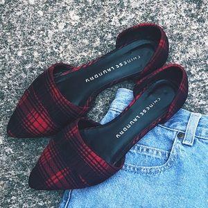 Red plaid Chinese laundry flats